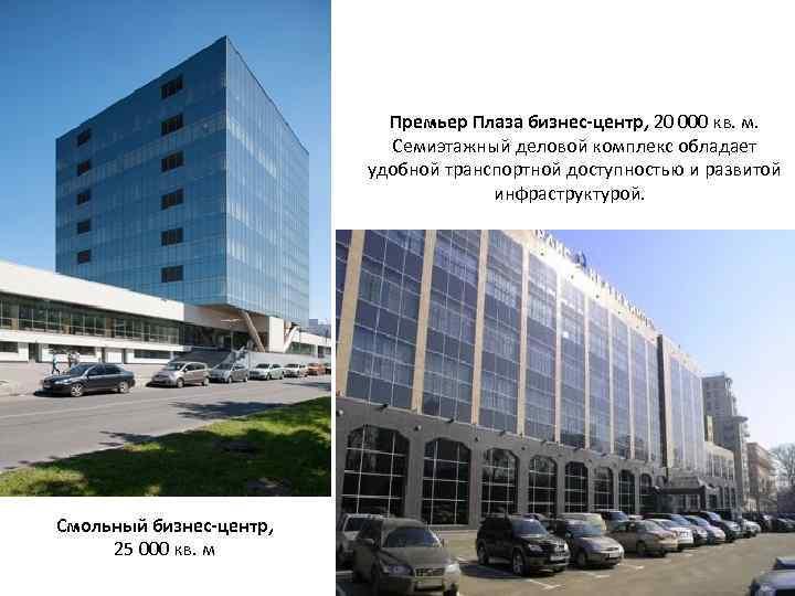 Премьер Плаза бизнес-центр, 20 000 кв. м. Семиэтажный деловой комплекс обладает удобной транспортной доступностью