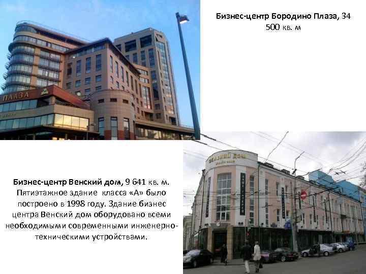Бизнес-центр Бородино Плаза, 34 500 кв. м Бизнес-центр Венский дом, 9 641 кв. м.