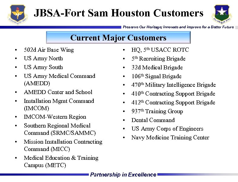 JBSA-Fort Sam Houston Customers Preserve Our Heritage; Innovate and improve for a Better Future