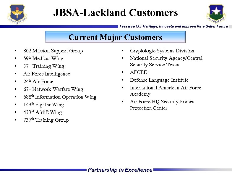 JBSA-Lackland Customers Preserve Our Heritage; Innovate and improve for a Better Future Current Major