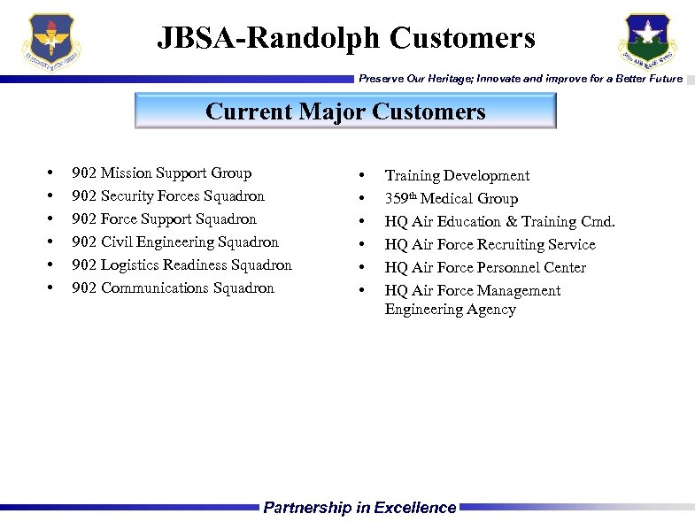 JBSA-Randolph Customers Preserve Our Heritage; Innovate and improve for a Better Future Current Major