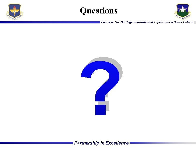 Questions Preserve Our Heritage; Innovate and improve for a Better Future ? Partnership in