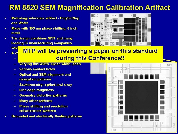 RM 8820 SEM Magnification Calibration Artifact • Metrology reference artifact - Poly. Si Chip