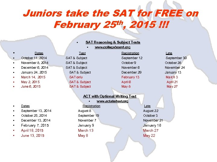 Juniors take the SAT for FREE on February 25 th, 2015 !!! • SAT