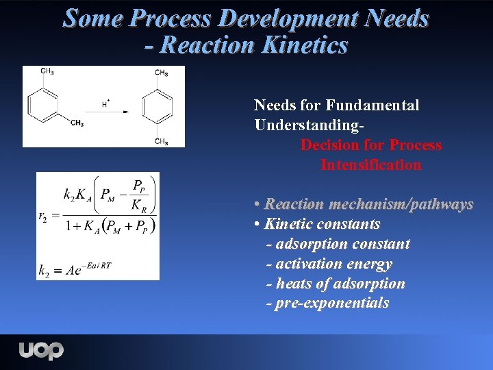 Some Process Development Needs - Reaction Kinetics Needs for Fundamental Understanding. Decision for Process