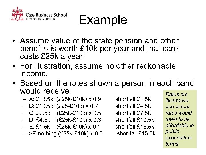 Example • Assume value of the state pension and other benefits is worth £