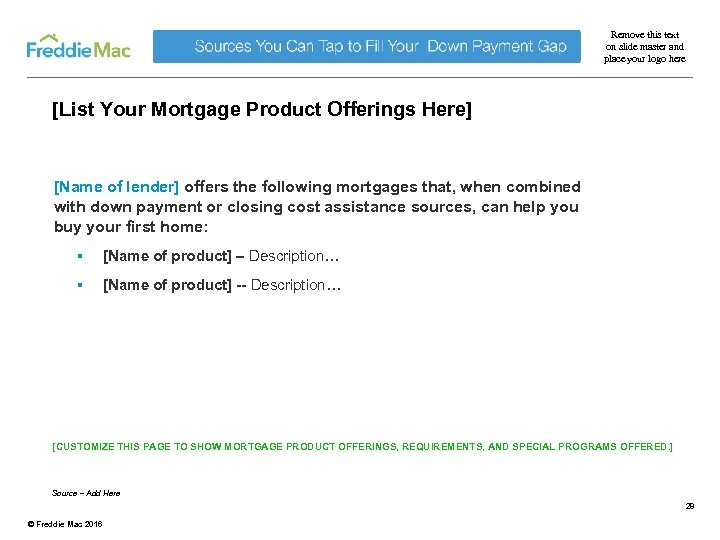 Remove this text on slide master and place your logo here [List Your Mortgage