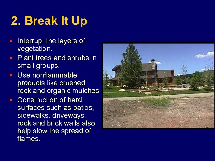 2. Break It Up § Interrupt the layers of vegetation. § Plant trees and