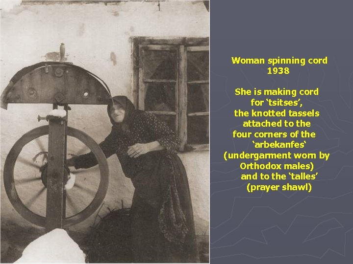 Woman spinning cord 1938 She is making cord for 'tsitses', the knotted tassels attached