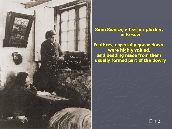 Sime Swieca, a feather plucker, in Kosow Feathers, especially goose down, were highly valued,