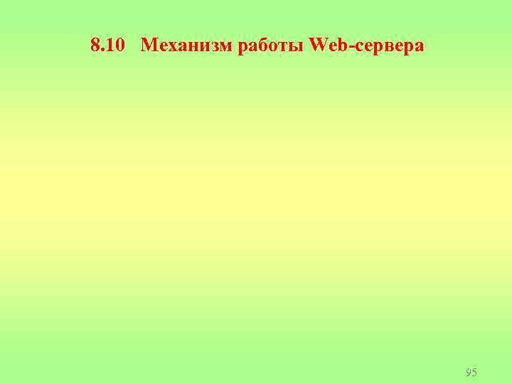 8. 10 Механизм работы Web-сервера 95