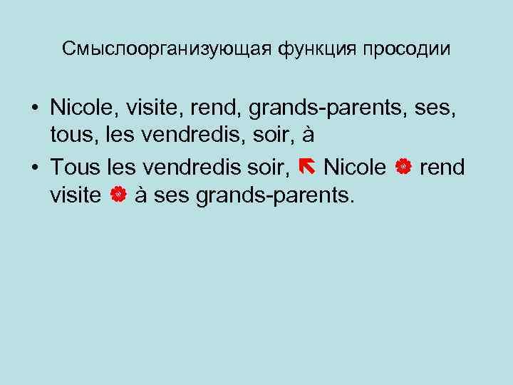 Смыслоорганизующая функция просодии • Nicole, visite, rend, grands-parents, ses, tous, les vendredis, soir, à