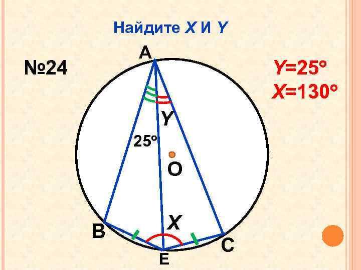 Найдите Х И Y А № 24 Y=25 Х=130 Y 25 О В Х