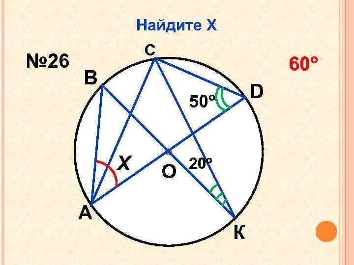 Найдите Х № 26 С 60 В D 50 Х А О 20 К