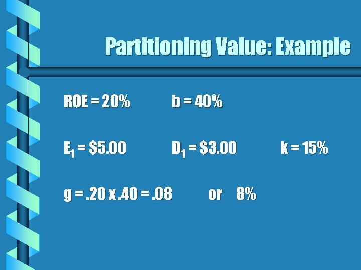 Partitioning Value: Example ROE = 20% b = 40% E 1 = $5. 00