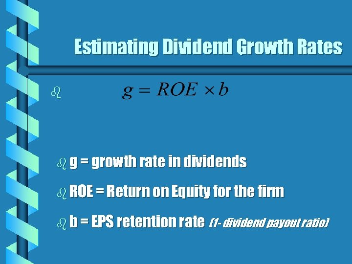 Estimating Dividend Growth Rates b b g = growth rate in dividends b ROE