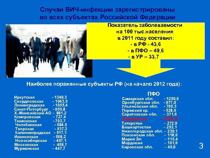 Случаи ВИЧ-инфекции зарегистрированы во всех субъектах Российской Федерации Показатель заболеваемости на 100 тыс. населения