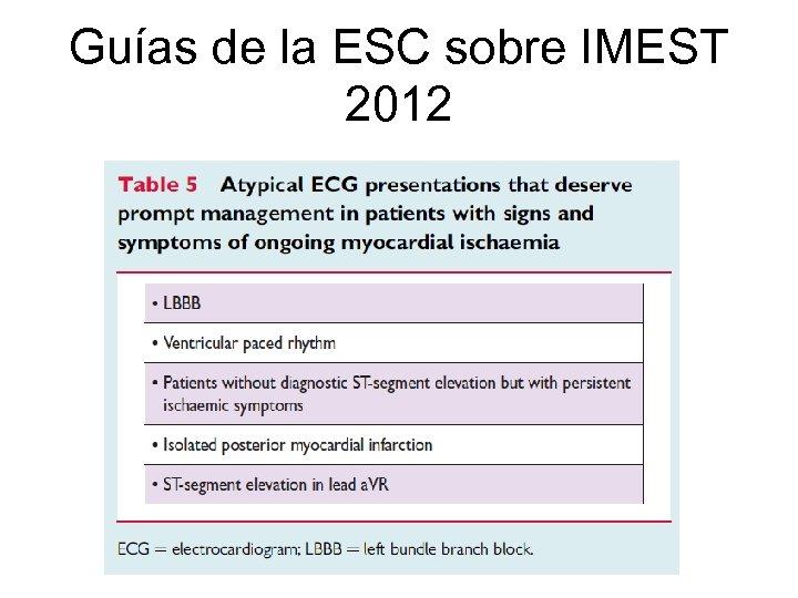 Guías de la ESC sobre IMEST 2012