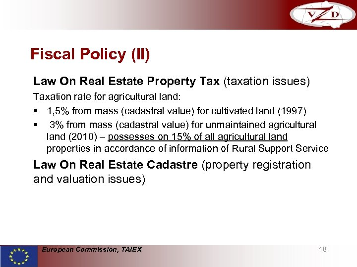 Fiscal Policy (II) Law On Real Estate Property Tax (taxation issues) Taxation rate for