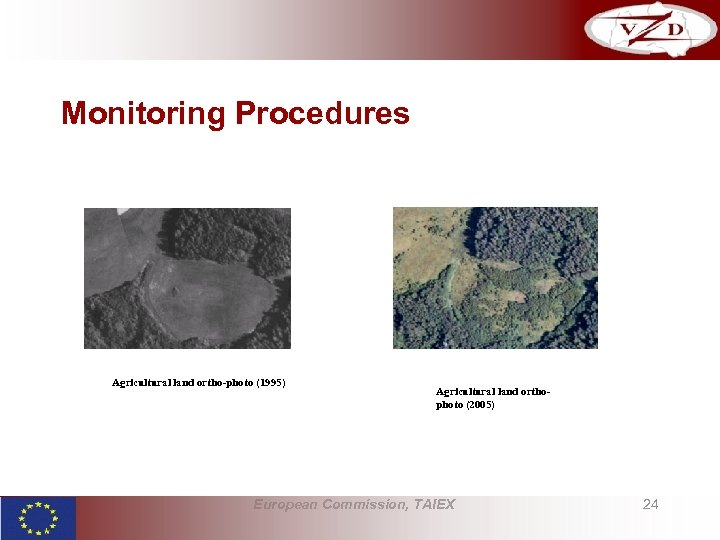 Monitoring Procedures Agricultural land ortho-photo (1995) Agricultural land orthophoto (2005) European Commission, TAIEX 24