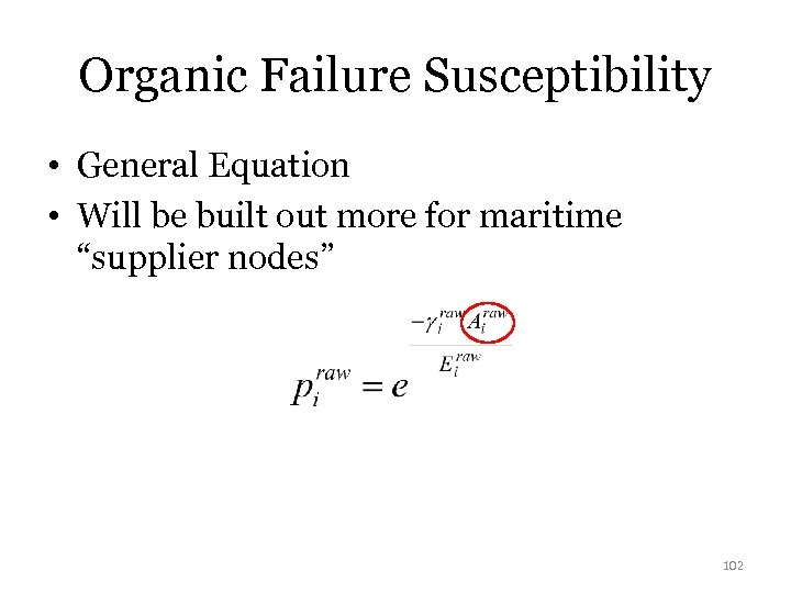 Organic Failure Susceptibility • General Equation • Will be built out more for maritime