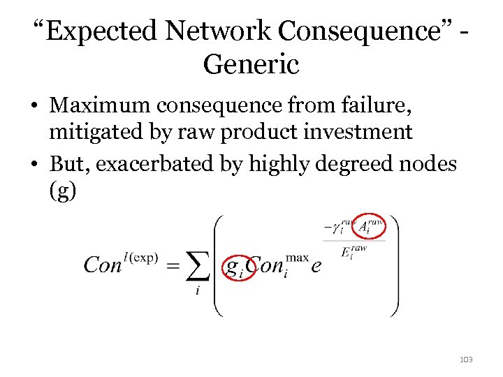 """Expected Network Consequence"" Generic • Maximum consequence from failure, mitigated by raw product investment"