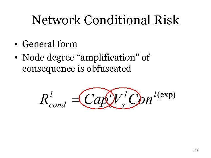 "Network Conditional Risk • General form • Node degree ""amplification"" of consequence is obfuscated"