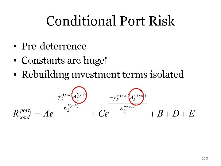 Conditional Port Risk • Pre-deterrence • Constants are huge! • Rebuilding investment terms isolated