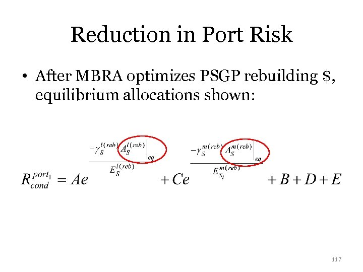 Reduction in Port Risk • After MBRA optimizes PSGP rebuilding $, equilibrium allocations shown: