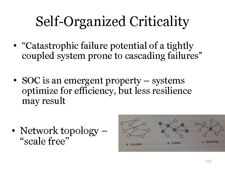 "Self-Organized Criticality • ""Catastrophic failure potential of a tightly coupled system prone to cascading"