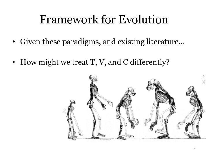 Framework for Evolution • Given these paradigms, and existing literature… • How might we