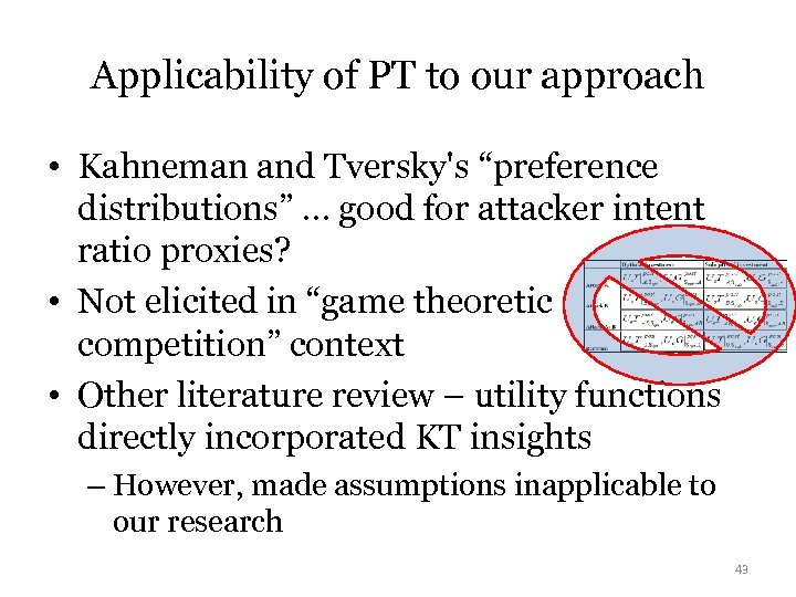 "Applicability of PT to our approach • Kahneman and Tversky's ""preference distributions"" … good"