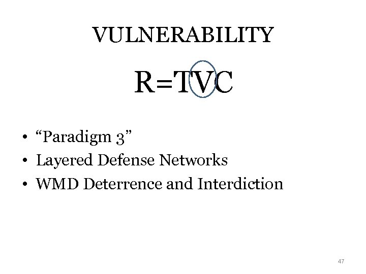 "VULNERABILITY R=TVC • ""Paradigm 3"" • Layered Defense Networks • WMD Deterrence and Interdiction"