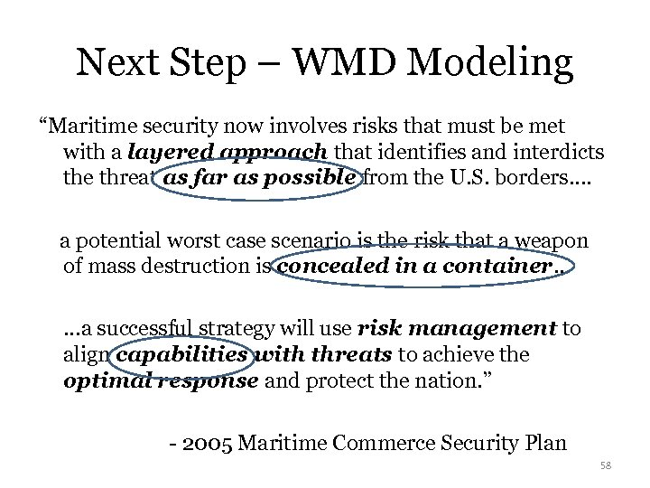 "Next Step – WMD Modeling ""Maritime security now involves risks that must be met"