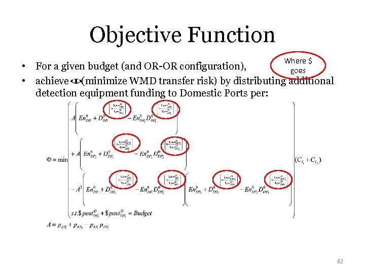Objective Function Where $ • For a given budget (and OR-OR configuration), goes •