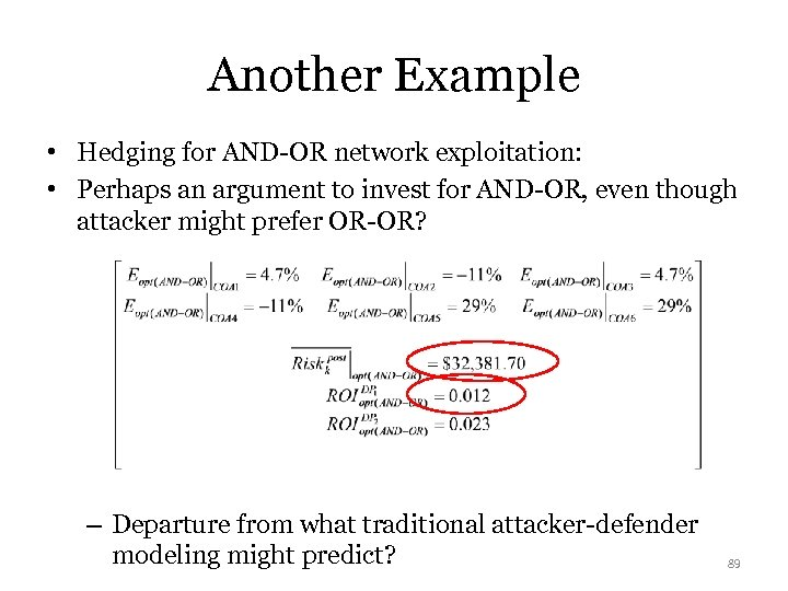 Another Example • Hedging for AND-OR network exploitation: • Perhaps an argument to invest