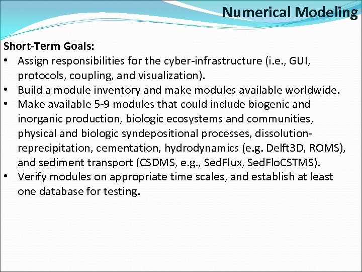 Numerical Modeling Short-Term Goals: • Assign responsibilities for the cyber-infrastructure (i. e. , GUI,