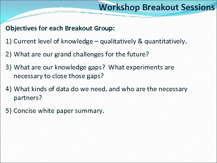 Workshop Breakout Sessions Objectives for each Breakout Group: 1) Current level of knowledge –