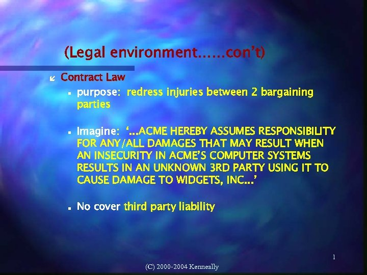 (Legal environment……con't) Contract Law purpose: redress injuries between 2 bargaining parties Imagine: '. .