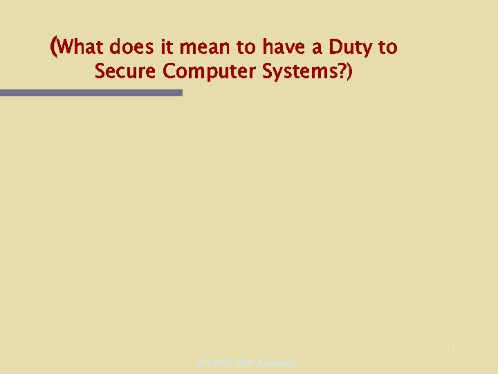 (What does it mean to have a Duty to Secure Computer Systems? ) 1