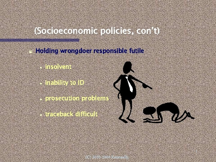 (Socioeconomic policies, con't) Holding wrongdoer responsible futile insolvent inability to ID prosecution problems traceback