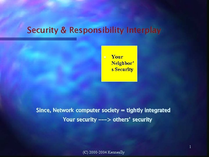 Security & Responsibility Interplay Your Neighbor' s Security Since, Network computer society = tightly