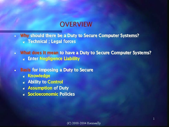OVERVIEW Why should there be a Duty to Secure Computer Systems? Technical ; Legal