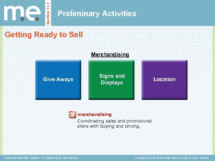 Section 13. 1 Preliminary Activities Getting Ready to Sell Merchandising Give-Aways Signs and Displays