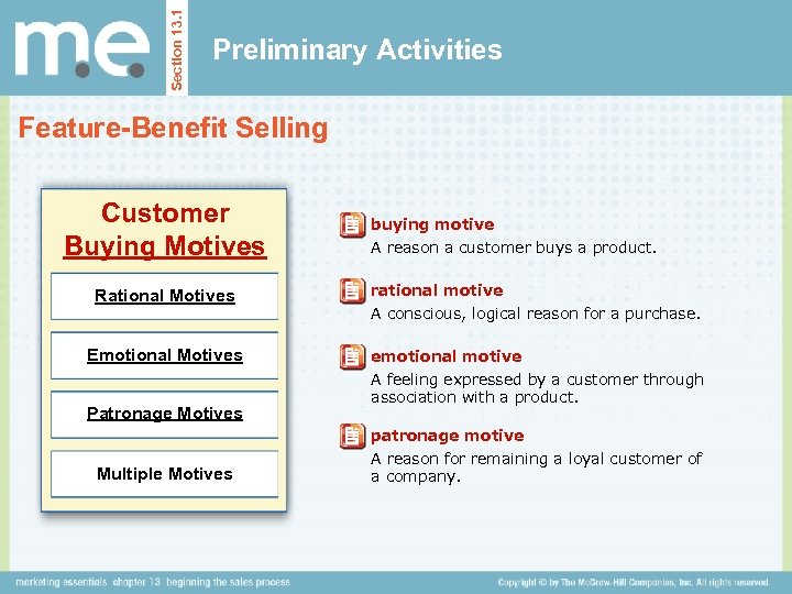 Section 13. 1 Preliminary Activities Feature-Benefit Selling Customer Buying Motives buying motive A reason