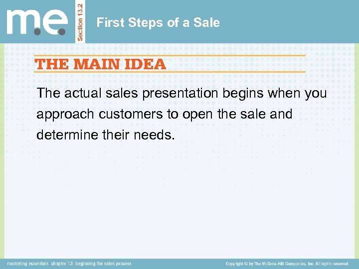 Section 13. 2 First Steps of a Sale The actual sales presentation begins when
