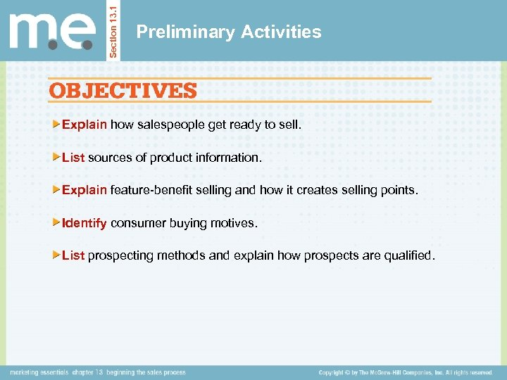 Section 13. 1 Preliminary Activities Explain how salespeople get ready to sell. List sources
