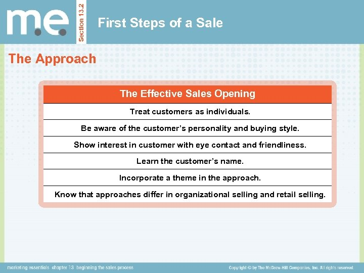 Section 13. 2 First Steps of a Sale The Approach The Effective Sales Opening