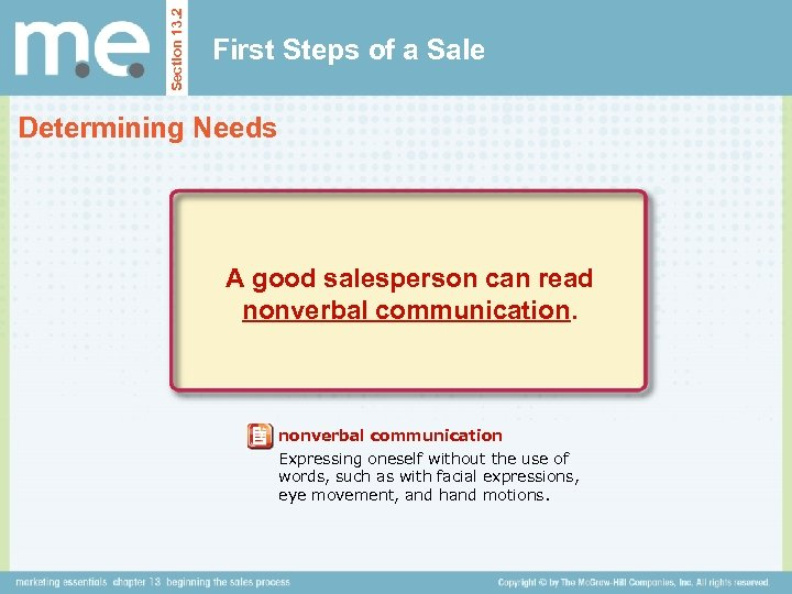Section 13. 2 First Steps of a Sale Determining Needs A good salesperson can