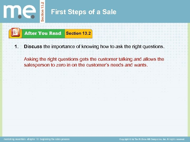 Section 13. 2 First Steps of a Sale Section 13. 2 1. Discuss the
